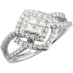 14K white gold invisible set princess cut diamond engagement ring